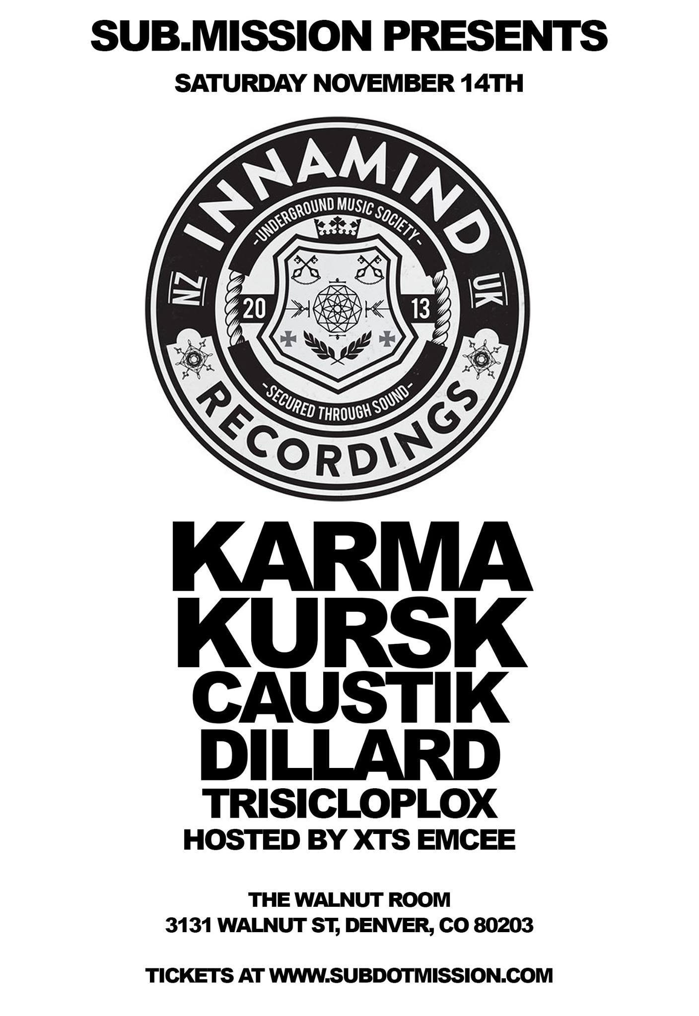 Dillard At Walnut Room With Innamind Artist Karma / Kursk. Nov. 14th