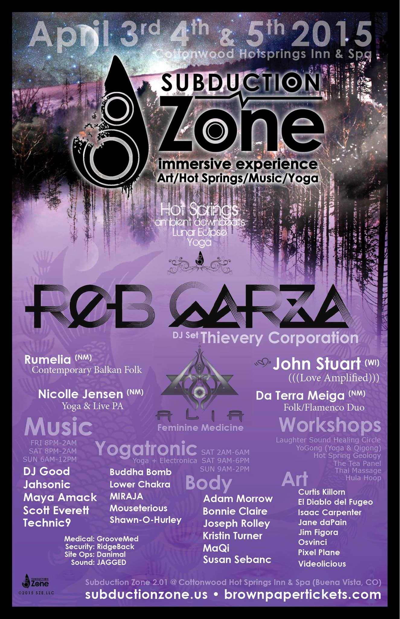 FAMILY MOONS ARTIST AT SUBDUCTION ZONE APRIL 3-5TH 2015